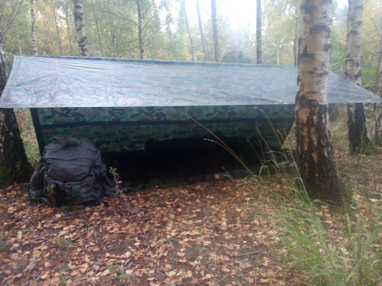 Versatile Emergency Shelter. Tarp Basha Ground Sheet Bivi Army Camo IPK Hammock
