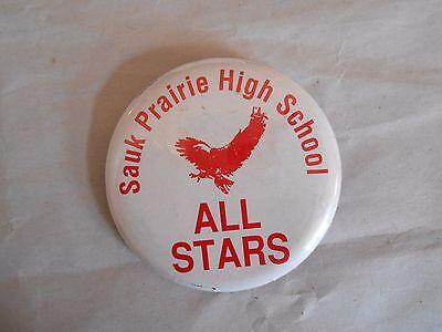 Cool Vintage Sauk Prairie High School All Stars Sports Spirit Pinback