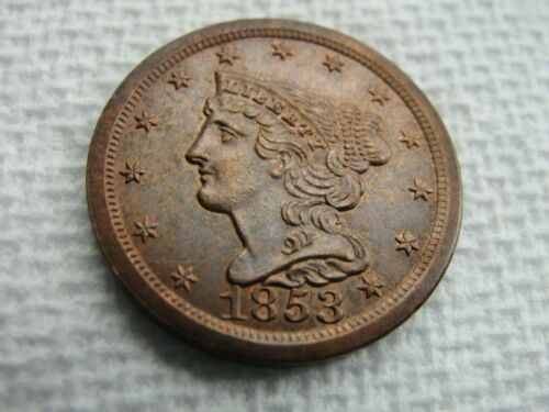 1853 US HALF CENT AMAZING DETAILS! NICE HIGHER GRADE COPPER COIN