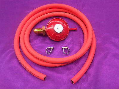 LPG Propane Gas Low Pressure Regulator With 2 Metre 8mm ID Hose Pipe And Clips
