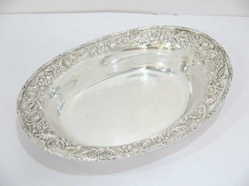 11 in - Sterling Silver S. Kirk & Son Antique Floral Repousse Oval Serving Dish