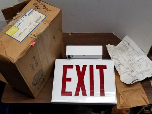 NOS - Exit Sign Light Up Hanging Metal Thomas Day-Brite Lighting w/ bracket & In