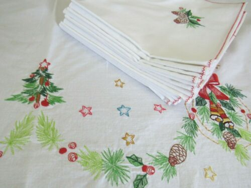 """Embroidered Christmas Banquet Tablecloth 65x100"""" Set w/ 12 Napkins White Cotton"""