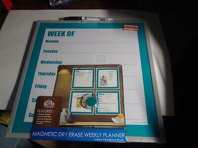 17x11 Monthly Dry Erase Magnetic Fridge Calendar Flexible Board Planner White