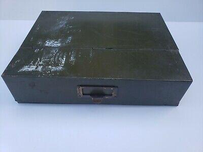 Vintage Army Green Metal File Box 13.5 X 10.5 X 3.75 Distressed
