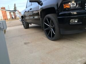 24 inch dub push rims and tires