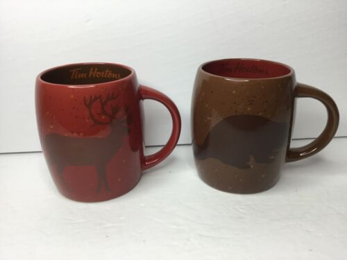 Tim Hortons Limited Edition Caribou Beaver Coffee Tea Mug 2016 Lot of 2