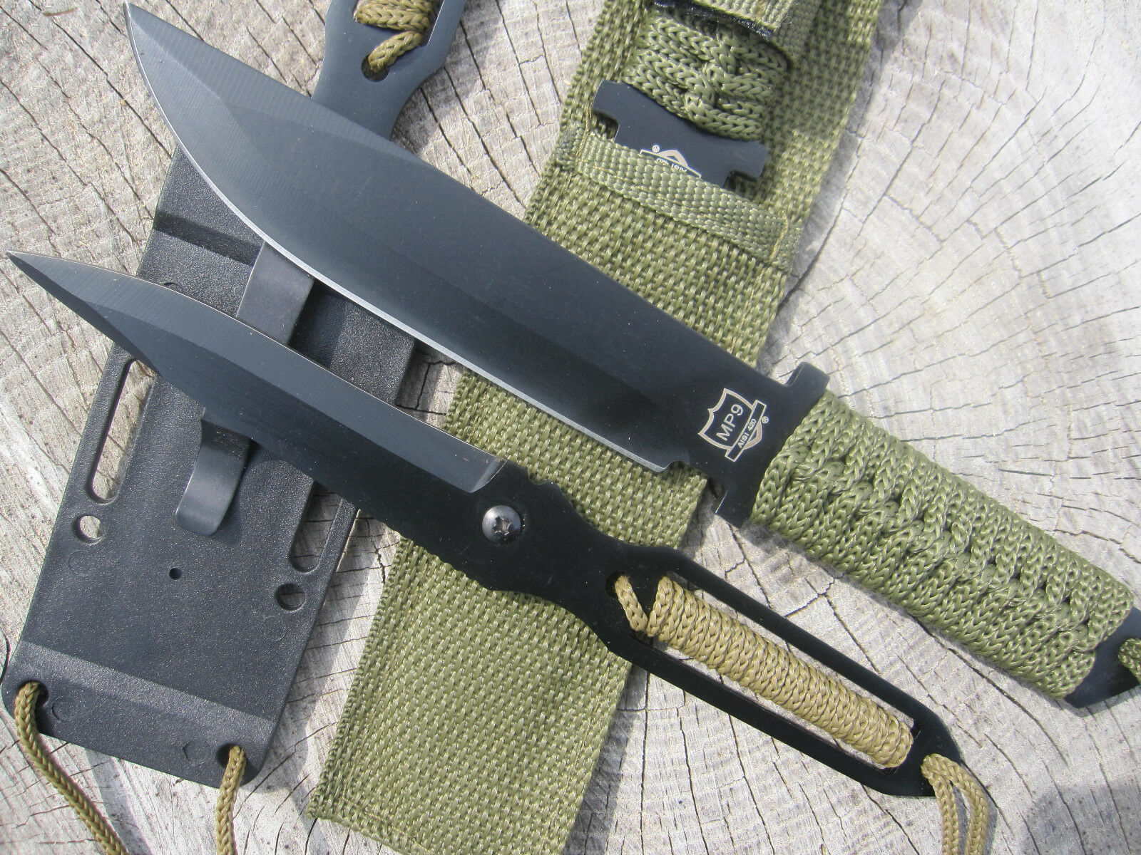 Outdoorset Gürtelmesser + Neck Knife Halsmesser Messer Paracord Edelstahl