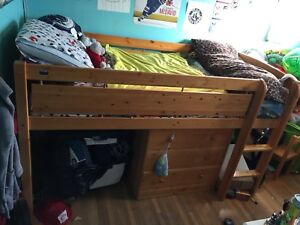 Solid Pine Wood Twin Loft Bed with matching dresser