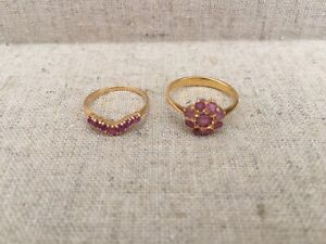 21K solid gold and real ruby rings