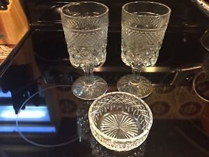 Antique Wine Glasses (2) with dish