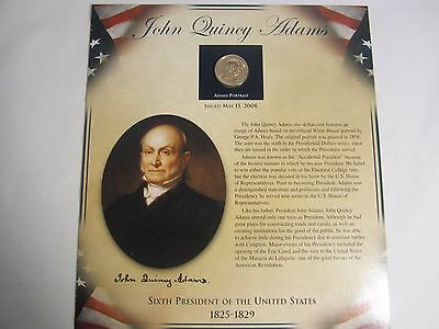 John Quincy Adams 6th President U.S. Dollar and Postage Stamps Panel from 2008  Adams, 6 Panel