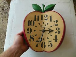 Vintage 60's Ingraham Classroom Kitchen Apple Wall Clock School Teacher