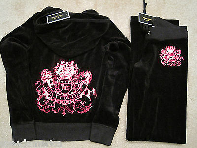 NWT Juicy Couture Black Royal Crown Velour Hoodie Pants Tracksuit Set Small $256 ()
