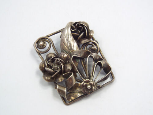 Vintage Artisan Signed Silver Rose & Bow Design Brooch Pin, 17.1 grams