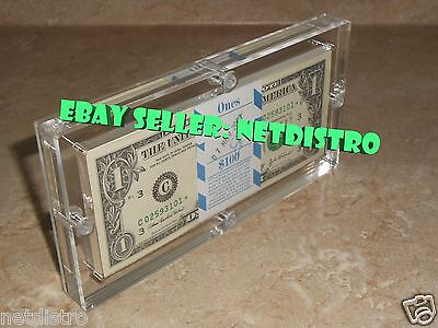 Money 100 Dollar Bill (Acrylic BEP 100 Pack Money Currency Holder Dollar Bank Frame Note Display)