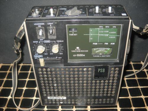 Sony ICF-5500W Portable 3-band AM FM PSB Radio VGC Condition WORKS w/strap