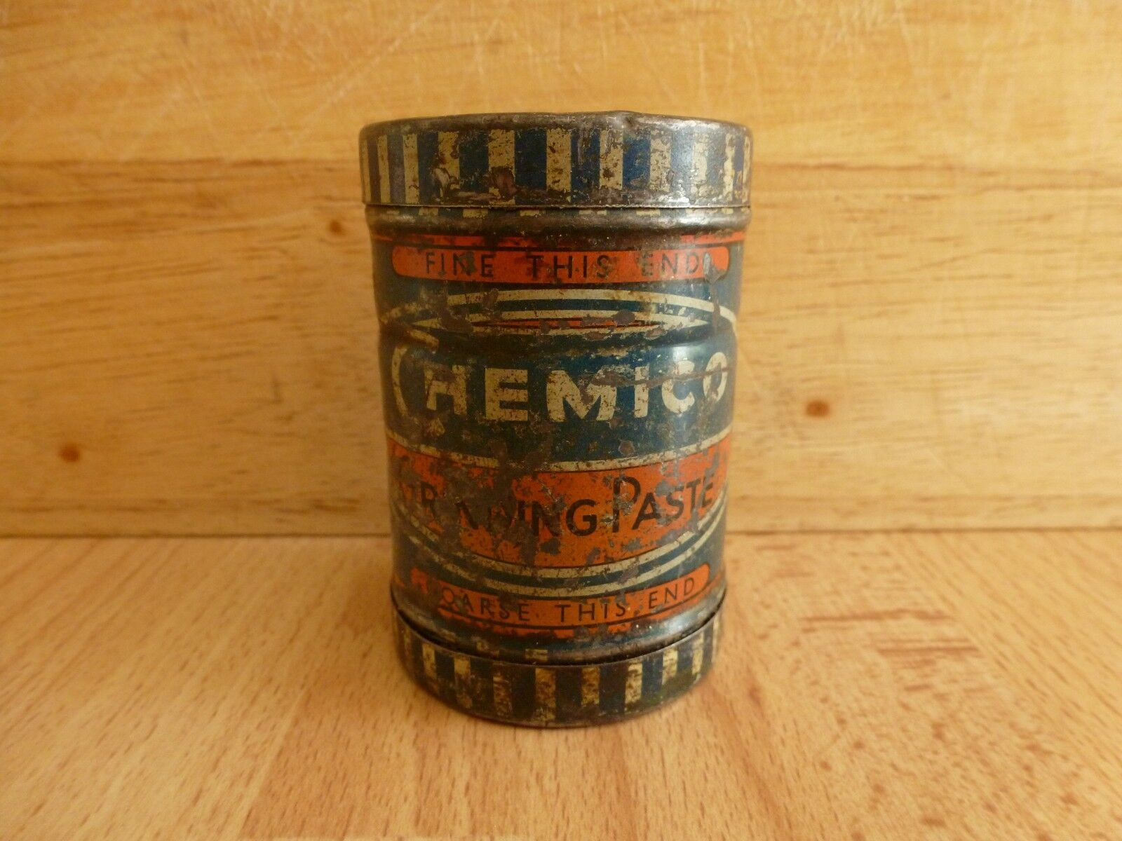 Chemico Grinding Paste Tin Fine Coarse Vintage Tin and Contents