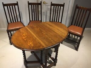 Antique Drop Leaf Barley Twist Table and 4 Chair Set