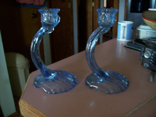 "Cambridge Caprice moonlight blue 7 1/4"" pair of candlesticks"
