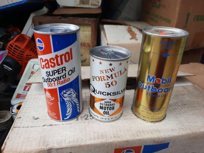 3 Vintage Outboard Oil Cans Mobil, Castrol & Quicksilver