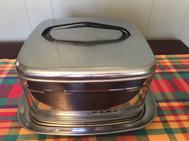 Vintage Mid Century Stainless Steel Cake Carrier
