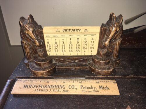 Vintage Perpetual Desk Calendar Syroco Composite Wood Horse Western Mid Century