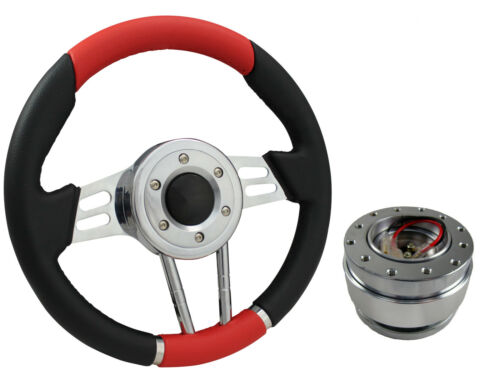 QUICK RELEASE RED V2 SPORTS STEERING WHEEL 310mm 6x70mm
