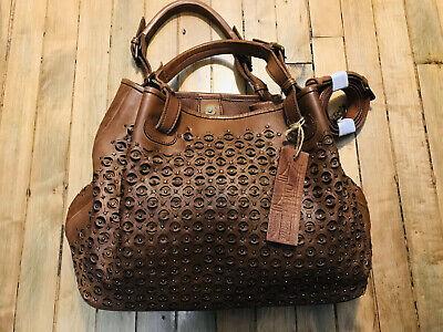 Platania perforated studded satchel shoulder brown leather handbag NWT Ladies Studded Satchel