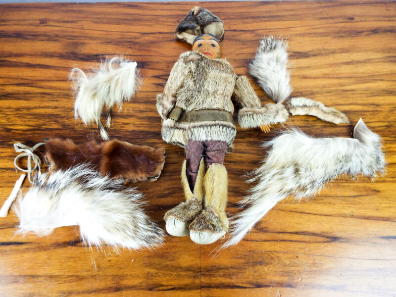 Antique Pacific North West Haida Tribe Doll Native American Hand Carved 1920s
