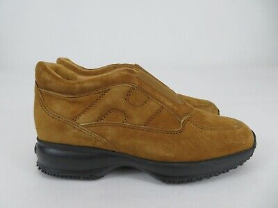 Hogan Interactive Luxury Suede Shoes Sneakers Beige Mens Size 6, Italy Made