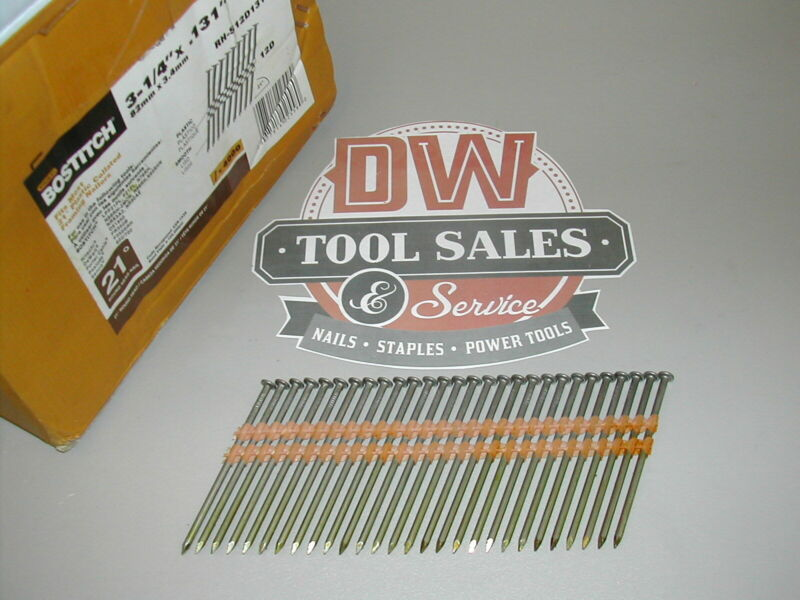 "3 1/4"" Inch Full Round Head Nails 21 Degree (2,000) Plastic Strip Bostitch"