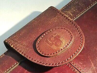Vtg Lgi Brown Leather Portfolio Attache Case Organizer Briefcase Nice Classic