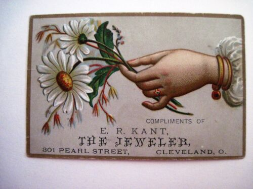 "Victorian Trade Card for E.R. Kant ""The Jeweler"" w/ Hand Holding White Daisy *"