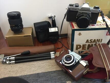 3 Vintage Pentax Cameras, Lenses and Extras