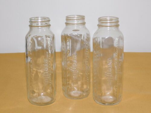 "VINTAGE 3  6 1/2"" HIGH EVENFLO  8 OZ GLASS BABY BOTTLES"