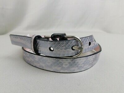 Calvin Klein Python Embossed Leather Skinny Belt - Silver, Size Medium #8360 Calvin Klein Embossed Belt