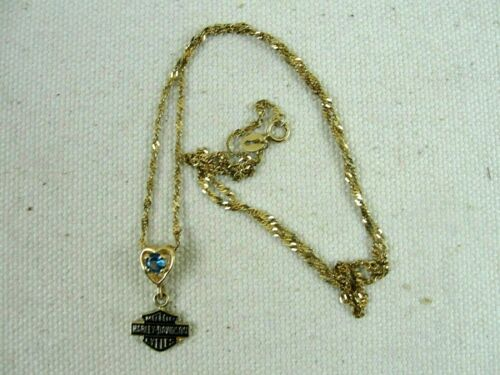 """10K Solid Gold Harley Davidson Blue Stone Stamper W/ 18"""" Twisted Chain 2.1 Grams"""