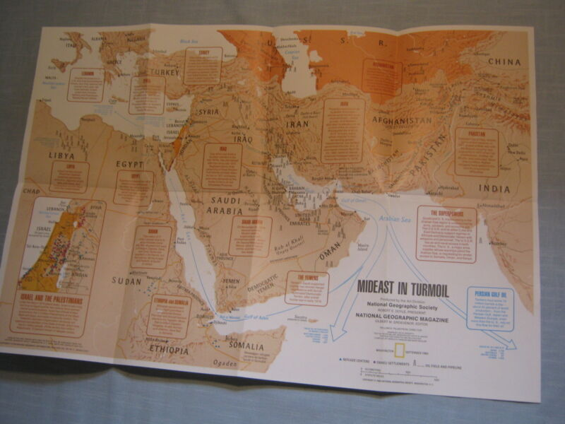 THE MIDDLE EAST MAP + TWO CENTURIES OF CONFLICT  National Geographic 1980 MINT