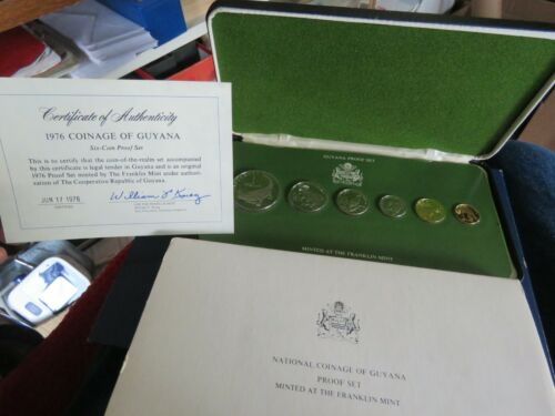 1976 COINAGE OF GUYANA 6 COIN PROOF SET FRANKLIN MINT+BOX+COA