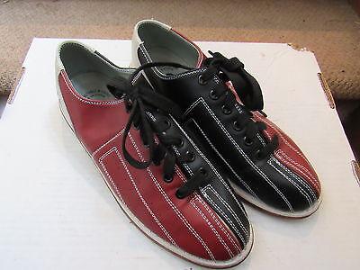 Size 8 Men's Linds Tri Color Bowling Shoes Vgc Black Red Beige