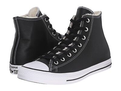 Converse chuck taylor all star hi Black leather shearling black white black