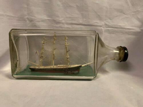 Antique Vintage Ship In A Bottle Dated August 1930 by Lewis W. Connell