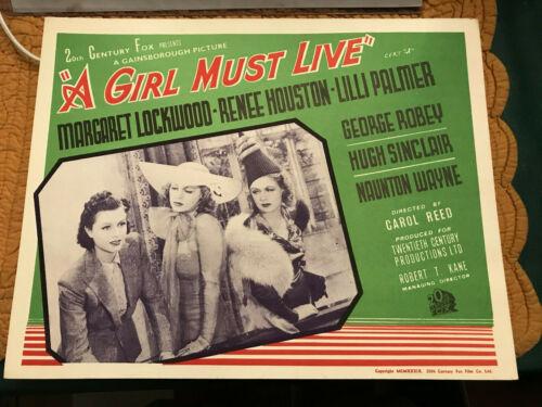 "A Girl Must Live 1939 Gainsborough 11x14"" British lobby card Margaret Lockwood"