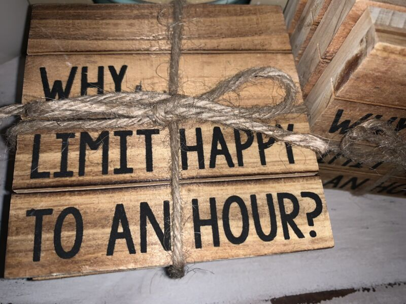 """Mud Pie """"happy Hour"""" Funny Rustic Coasters ~ Set Of 4 ~ Bar ~ Beach House ~new"""