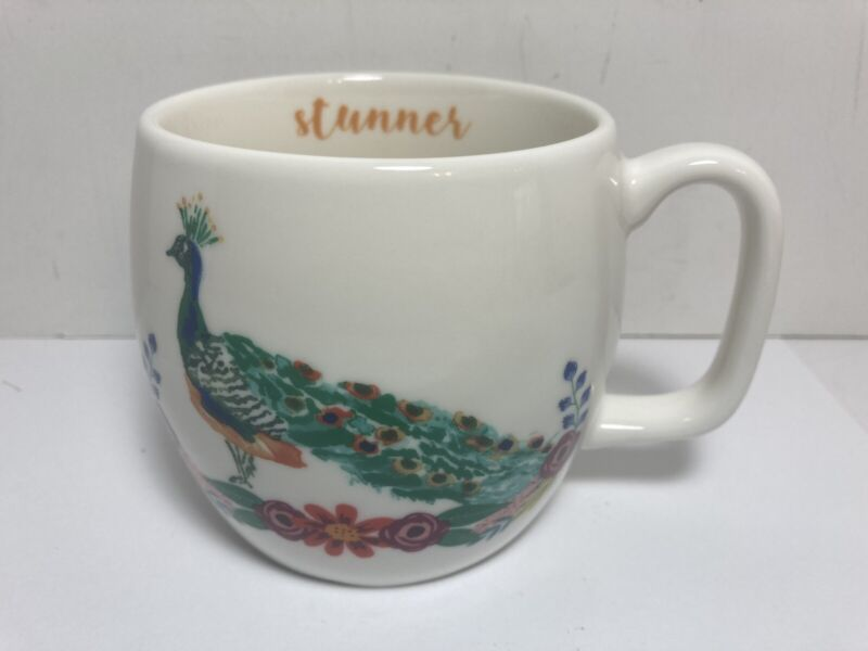 Peacock Stunner Coffee Tea Cup Mug Opalhouse Porcelain 16 Oz.