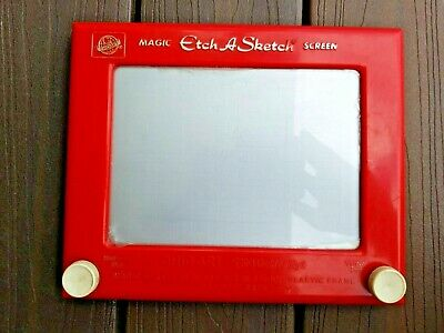 Vintage Magic Etch A Sketch Toy Screen Ohio Art Works Red #505 Classic USA