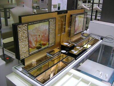 Lancome Illuminated Gold Retail Perfume Makeup Jewelry Countertop Display