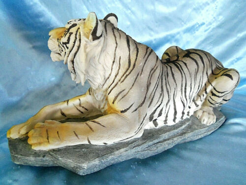 """Bi-Colored Rare Tiger Cat Resin Figurine Statue 16"""""""