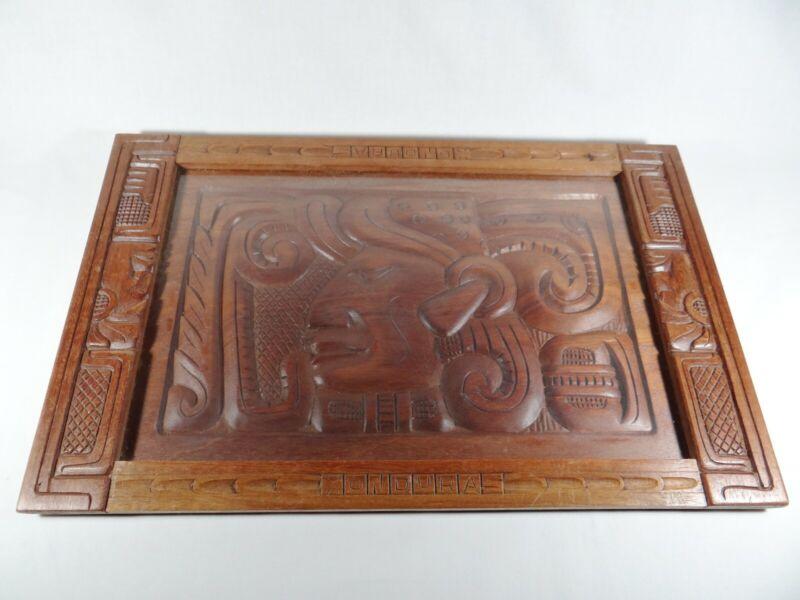 "Vintage Hand Carved Honduras Wood Mahogany Wall Art 19"" Wide"